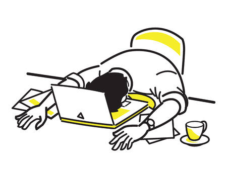 Illustration for Vector illustration character of tired businessman sleeping on laptop, at his desk, presenting to overloaded working, exhausted, weary. Line draw style, simple design. - Royalty Free Image