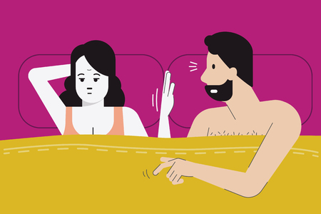 Illustration pour Vector illustration of woman make hand sign for no sex tonight as she feel boredom, menopause, or have sex problem with her partner. Married life problem concept. Flat design character. - image libre de droit