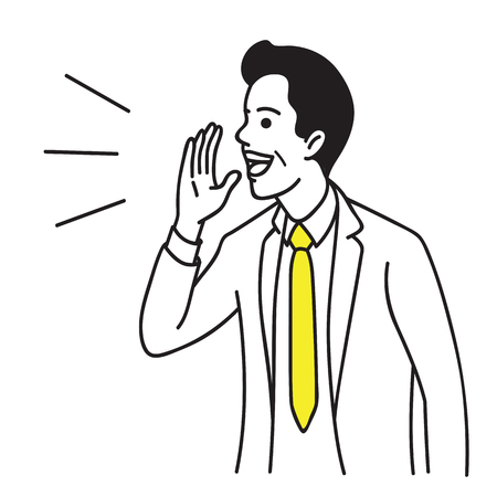 Illustration pour Vector illustration portrait character of businessman raise hand near mouth. Shouting, talking and speaking. Hand drawn sketch design, simple style. - image libre de droit