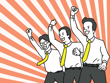 Ilustración de Vector illustration character of businessman, office worker in teamwork, clenched fist raising in the air with cheering happiness expression. Success, winning, happy, celebration, motivation concept. Outline, linear, thin line art design. - Imagen libre de derechos