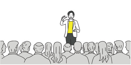 Illustration pour Creative man giving a talk on stage to audience in the conference hall. Outline, thin line art, linear, doodle, cartoon, hand drawn sketch design. - image libre de droit