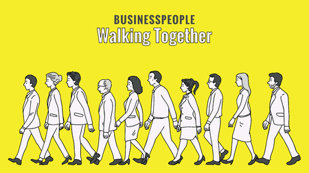 Illustration pour Vector illustration full length character of businesspeople, man and woman, walking together in the same direction, diversity, multi-ethnic, side view. Outline, linear, thin line art, doodle, hand drawn sketch design.   - image libre de droit