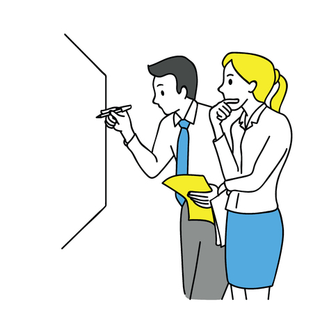 Illustration pour Businessman and woman, writing on white board, thinking and discussing, business concept in partnership, teamwork, coworkers, corporate. Outline, linear, thin line art, hand drawn sketch design. - image libre de droit