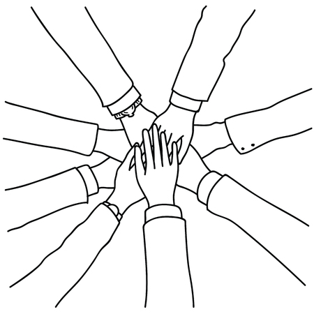Illustration pour Vector illustration of business people join hands, putting together in concept of cooperation, collaboration, teamwork. Top view, close up, outline, linear, thin line art, hand drawn sketch. - image libre de droit