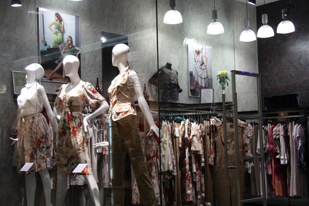 Fashion clothes shop window in a big mall, Moscow, Russia - 10.10.2011