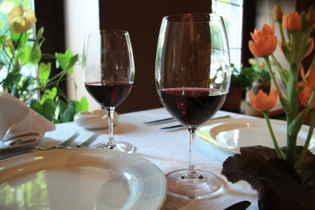Dinner for two persons with glasses of red wine