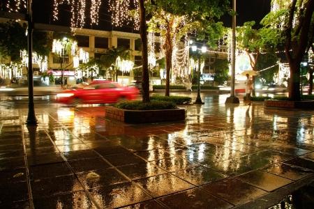 Night rainy Bangkok with street lights, Thailand
