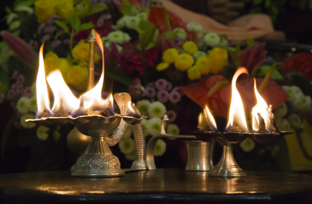 Incense burner with All-purifying fire in Hare Krishna temple