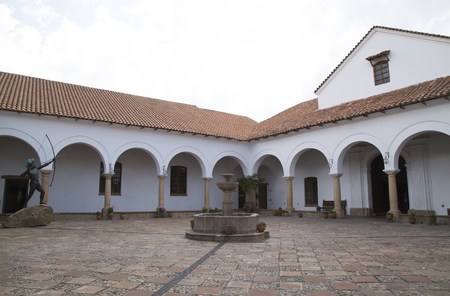 BOLIVIA, SUCRE, 9 FEBRUARY 2017 - The Courtyard of the House of Freedom - Casa de Libertad - where, in 1825, the Bolivian Declaration of Independence