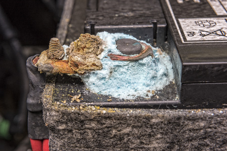 Blue Mold Forming On A Car Battery Post.