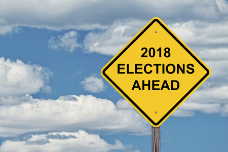 Caution Sign Blue Sky Background - 2018 Election Ahead