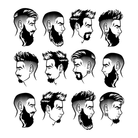 Illustration for Set of vector bearded men faces profile hipsters heads with different haircuts, mustaches, beards. Silhouettes or avatars, emblems and icons, labels. - Royalty Free Image