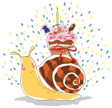 Anthropomorphic snail carrying on his back cupcake with a candle. Cupcake tied ribbon. In cream cupcake is a piece of cake, candy, ice cream on a stick and colored pills.