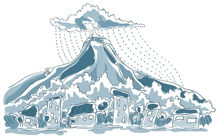 Above the town the rain. Above the clouds towering mountain. Mountain is dress Lady Rain. Her hair are shaped clouds are streaming rain.