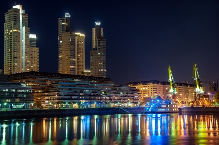 Beautiful upscale Puerto Madero and skyscrapers at night in Buenos Aires
