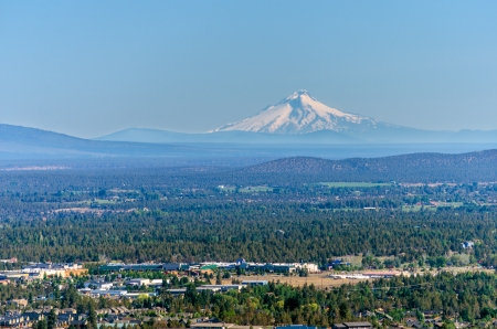 View of Mt  Hood and the city of Bend in Central Oregon