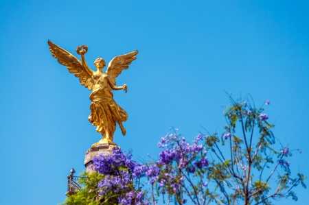 Golden colored Angel of Independence in Mexico City