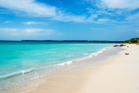 Stunning turquoise Caribbean water at Playa Blanca near Cartagena, Colombia