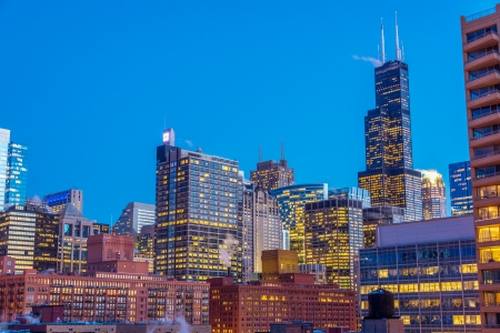View of downtown Chicago taken during the blue hour