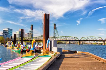 Dragon boats and the Hawthorne Bridge in downtown Portland, Oregon