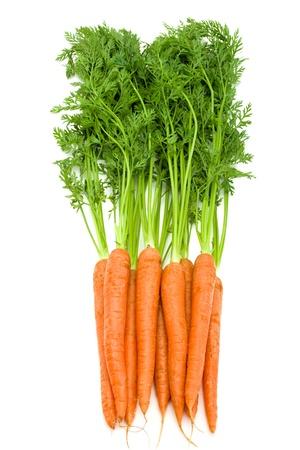 Foto für Bunch of fresh  carrots with green tops isolated on white  - Lizenzfreies Bild