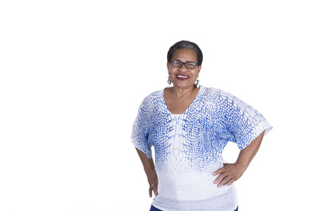 Foto für Older woman on white - Lizenzfreies Bild