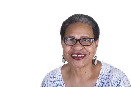 Foto für Oder woman with glasses on white - Lizenzfreies Bild