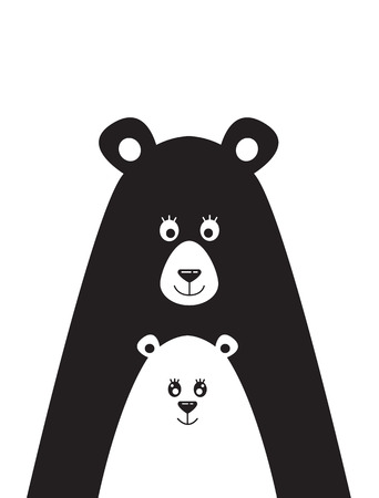 Illustration pour Poster with a picture of a bear and the little bear - image libre de droit
