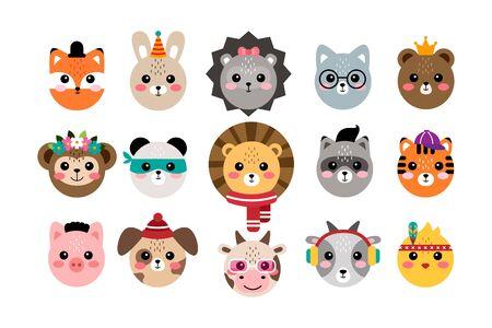 Illustration pour Kawaii set cute animal portraits vector illustration - image libre de droit