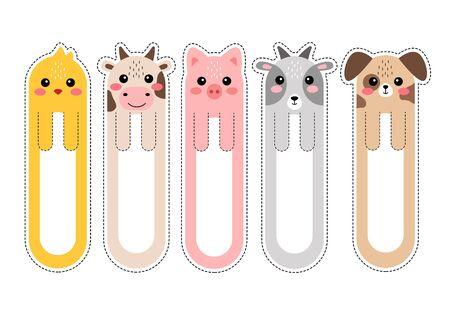 Illustration pour Cartoon kawaii bookmarks with animals vector illustration - image libre de droit