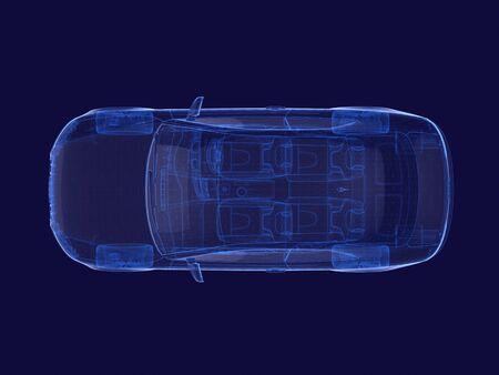 Photo pour Blue x-ray car on a dark - image libre de droit