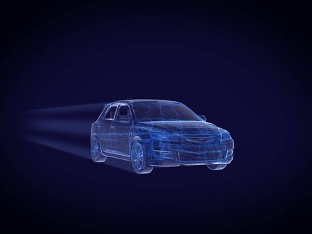 Photo pour Blue x-ray car with line speed on dark - image libre de droit