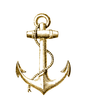 Gold Foil Nautical Anchor
