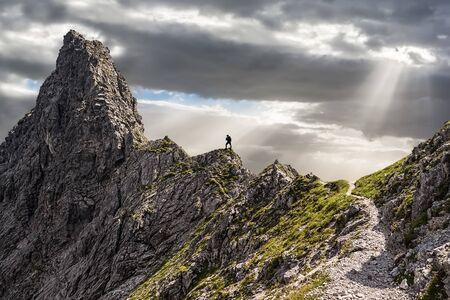 Photo pour One Single Climber on the Ascent to the Summit - image libre de droit