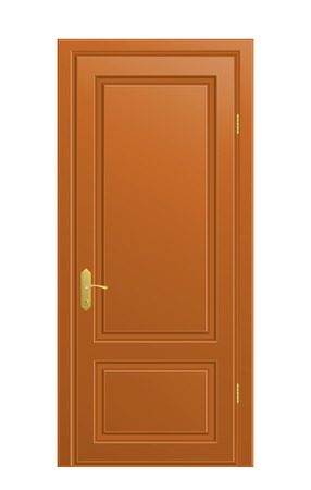 The wooden closed door on white background.