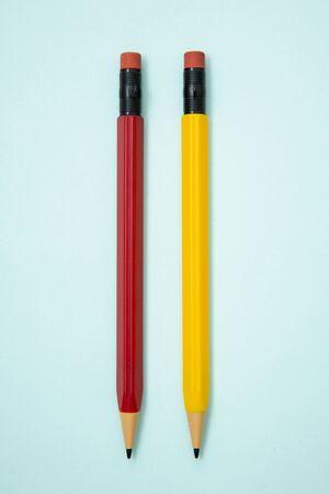 Foto de pencil-shaped mechanical pencils with eraser. - Imagen libre de derechos