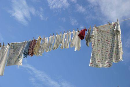 A laundry line in a crisp blue sky.