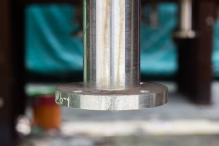 Photo pour Nozzle of pressure vessel is stainless steel after welding,  included Flange and Nozzle Neck, Assembly in factory, background. - image libre de droit