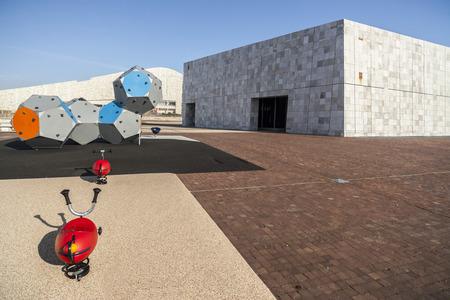 SANTIAGO DE COMPOSTELA,SPAIN-NOVEMBER 11,2015:Contemporary architecture,City of Culture of Galicia, Cidade da cultura de Galicia, designed by Peter Eisenman, Santiago de Compostela,Galicia,Spain.