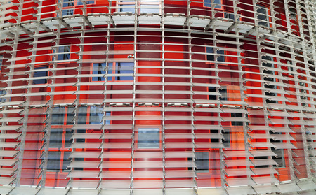 BARCELONA,SPAIN-SEPTEMBER 16,2011: Detail colored facade tower, Torre Agbar, by Jean Nouvel, iconic monument of contemporary architecture of Barcelona.