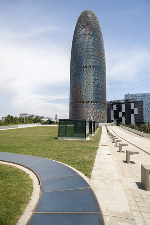 BARCELONA,SPAIN-JUNE 8,2015: Modern architecture, Torre Agbar,tower, by Jean Nouvel and estudio B720. Iconic building in Barcelona.