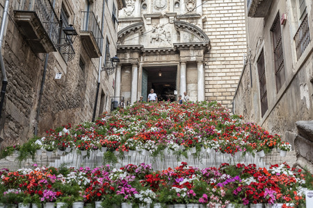 GIRONA,SPAIN-JUNE 9,2016:Street view, ancient buildings,historic center, Pujada de Sant Domenec or Escalinata de Sant Marti, stairs decorated with flowers in Temps de Flors, Spring flower festival,  Girona, Catalonia.