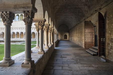 SANT CUGAT DEL VALLES,SPAIN-JANUARY 30,2014: Monastery, cloister, Monestir of Sant Cugat del Valles, province Barcelona,Catalonia.
