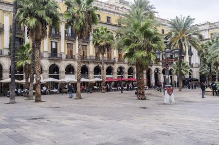 BARCELONA,SPAIN-NOVEMBER 2,2015: Street view, square, Plaza Real, touristic point of the city, Barcelona.