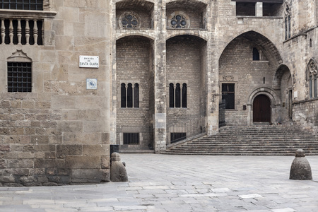 Barcelona. Plaza del Rei, gothic quarter,square with ancient buildings,point touristic of the historic center.