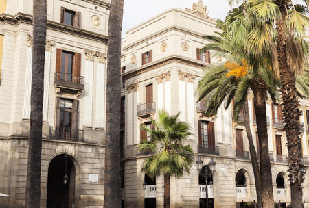 BARCELONA,SPAIN-AUGUST 31,2015: Plaza Real, detail facade buildings,close to famous Ramblas this square is a point touristic of the city.