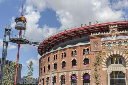 BARCELONA,SPAIN-AUGUST 27,2011: Shopping center, Centro Comercial les Arenes, located in old bullring, original building by August Font, reformed by Richard Rogers.
