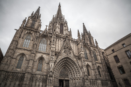 BARCELONA,SPAIN-FEBRUARY 22,2013: Cathedral, main entrance, gothic and neogothic style, Barcelona.