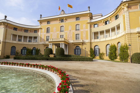 BARCELONA,SPAIN-JANUARY 30,2017:Palace and public garden Pedralbes, Barcelona.