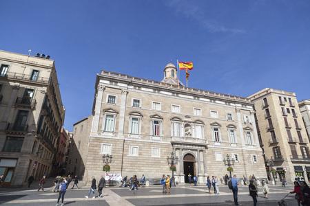 BARCELONA,SPAIN-MARCH 6,2017:Square Sant Jaume and Palace,Palau de la Generalitat,gothic quarter,Barcelona.